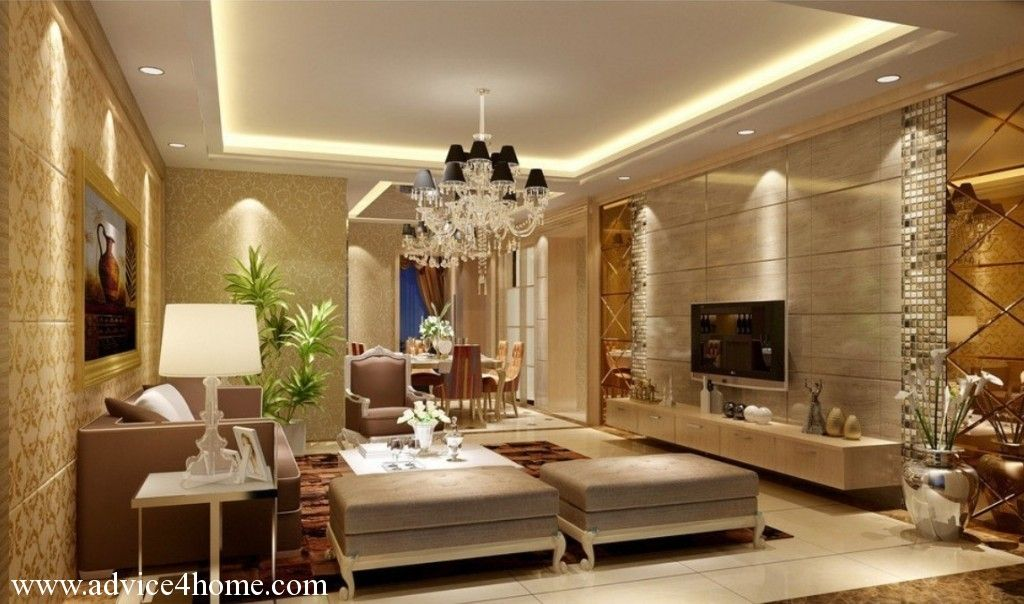 Superbe Luxury Living Room Interior With Pop Ceiling And Sofa Sets Decorating Ideas