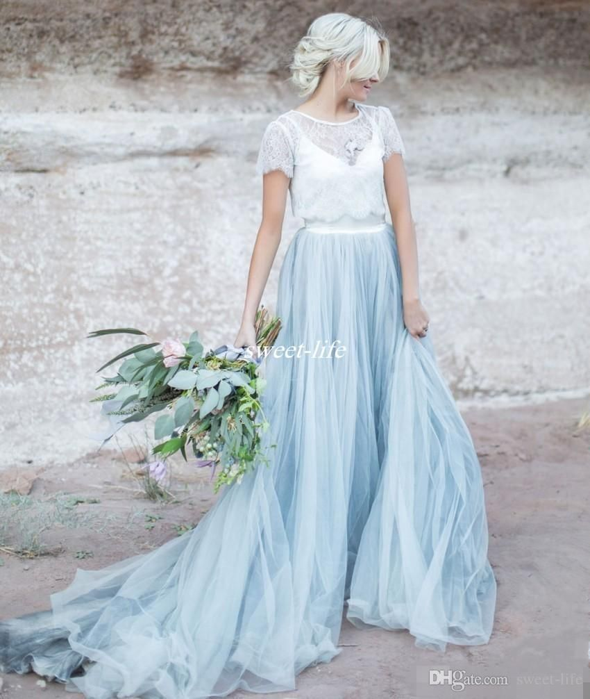 Light Blue Wedding Dresses White Lace Sheer Detachable Jacket Crop ...