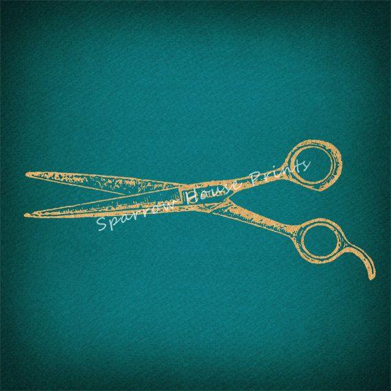 Antique Hair Cutting Shears Vintage Barber Salon Scissors Print in Vintage Tan Antique Teal Paper Background No.1450 B31 8x8 8x10 11x14 @ sparrowhouseprints.etsy.com