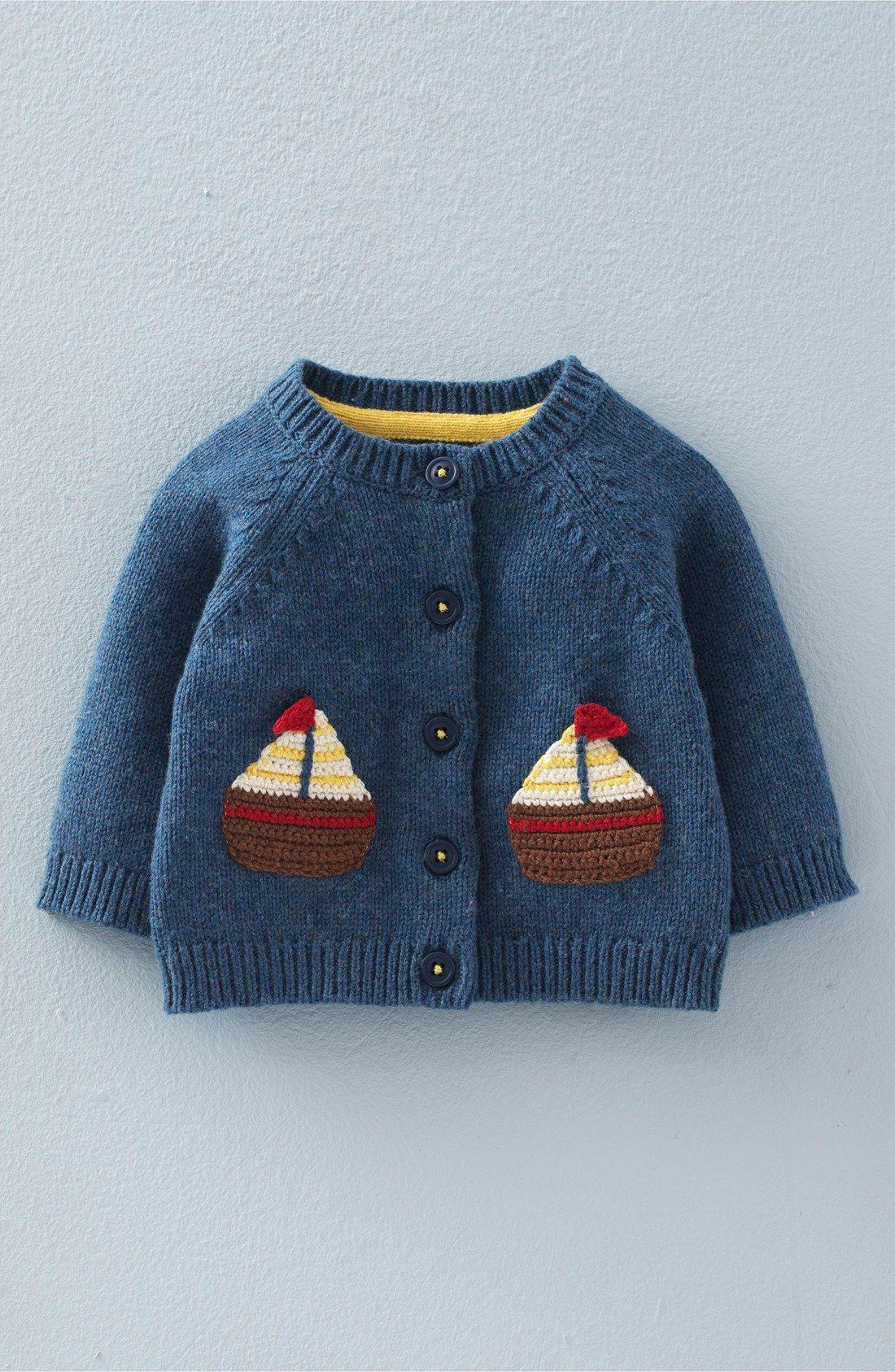 47f9fdf2e Mini Boden  Crochet Boats  Knit Cardigan (Baby Boys   Toddler Boys ...
