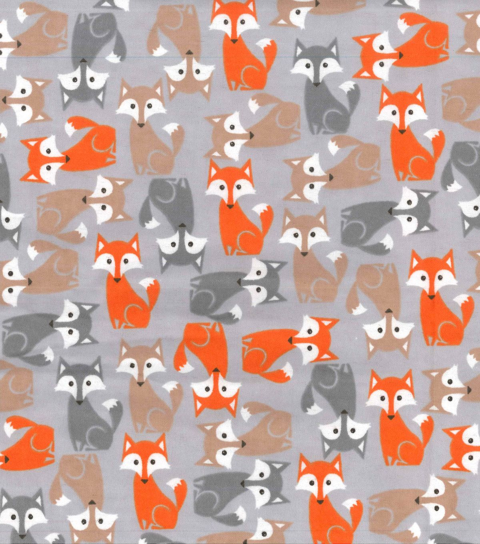 ~FLANNEL~ Fox ~ Quilting ~ Fabric ~ Flannelette ~ Grey~ Foxes ~ Boys~ Baby~ FQ