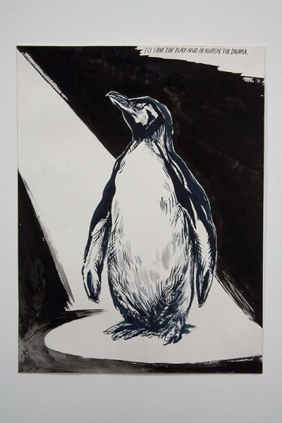 Raymond Pettibon, No Title (On Memorial Day), 2007. Pen, ink, gouache and collage on paper. 22 1/2 x 30 inches. Photography by Joshua White / JWPictures.com #JoshuaWhitePhotography #JWPictures #RaymondPettibon #Art #Drawing #Painting #Penguin #Spotlight