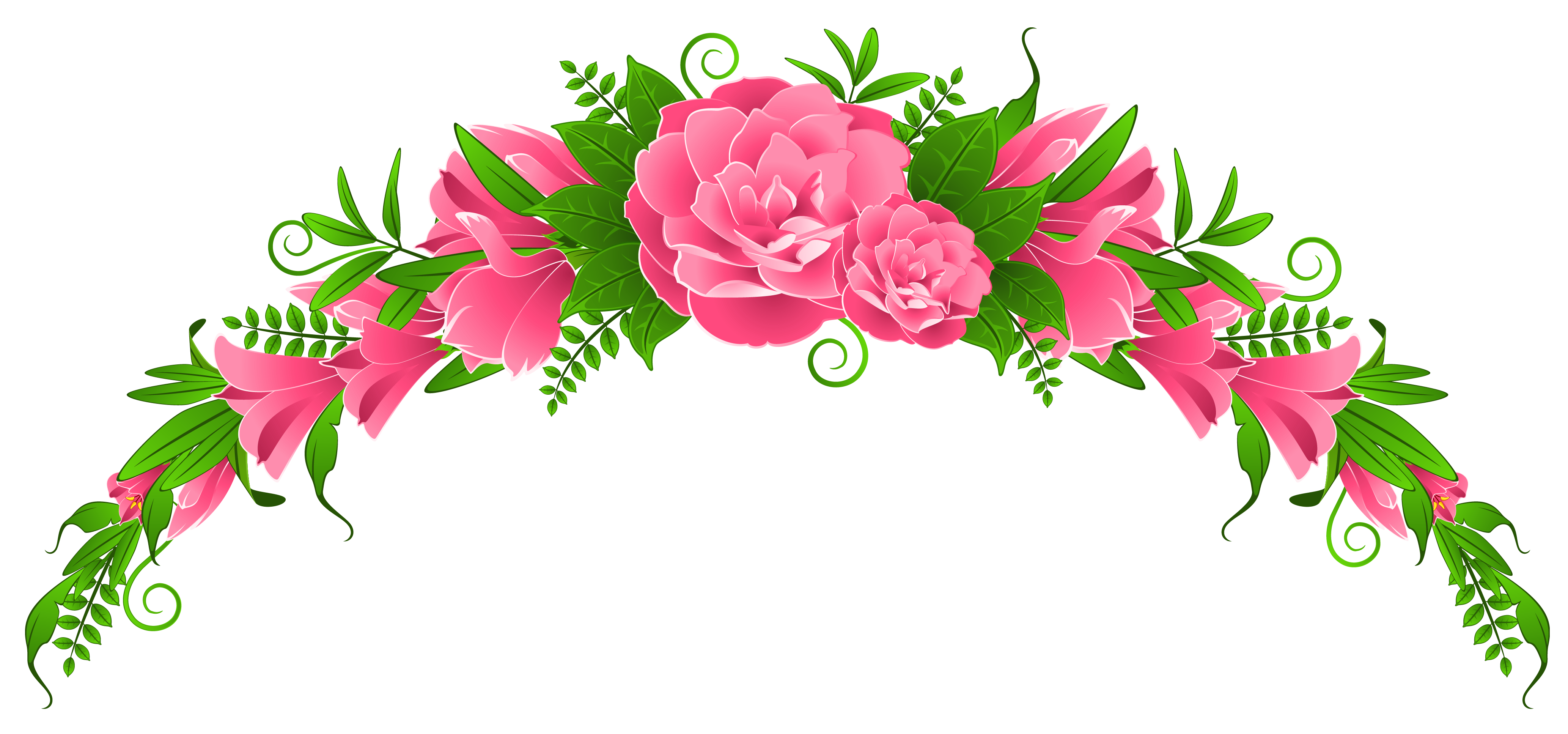 Pink Flowers And Roses Element PNG