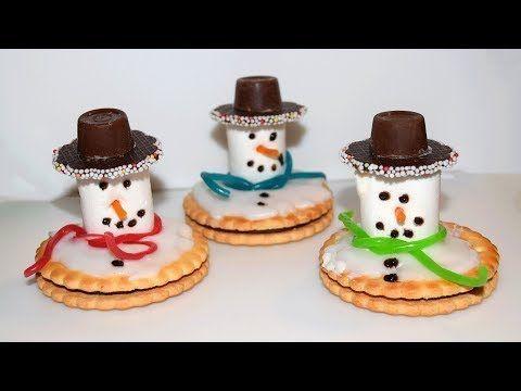 Geschmolzene Schneemänner aus Süßigkeiten basteln