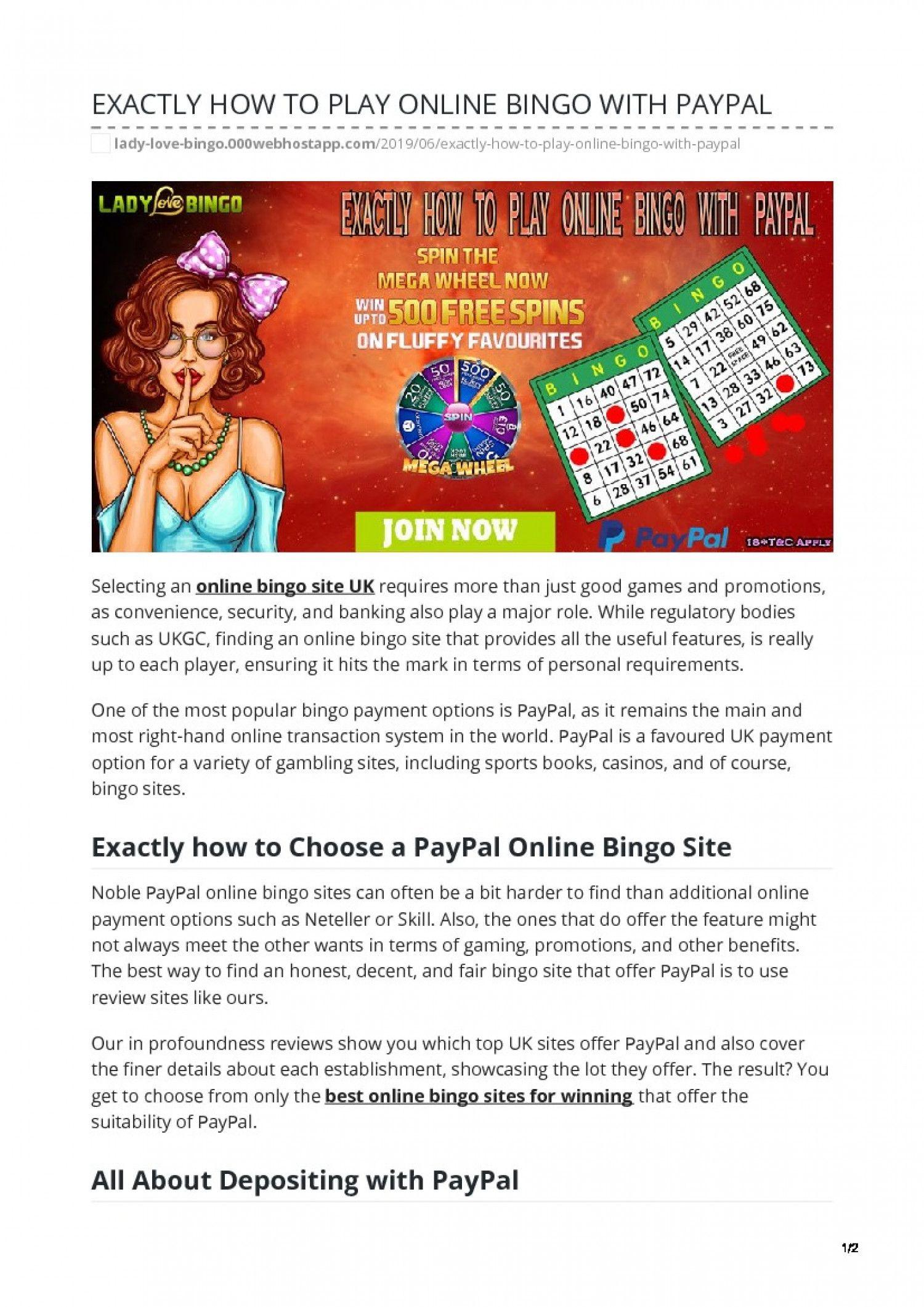 Bingo Spielen Online Paypal