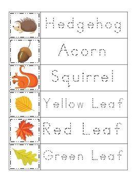 Fall themed Trace the Word preschool educational worksheets ...
