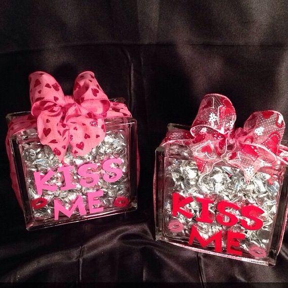 Kiss Me Valentine S Day Gift Glass Block Unique Gift