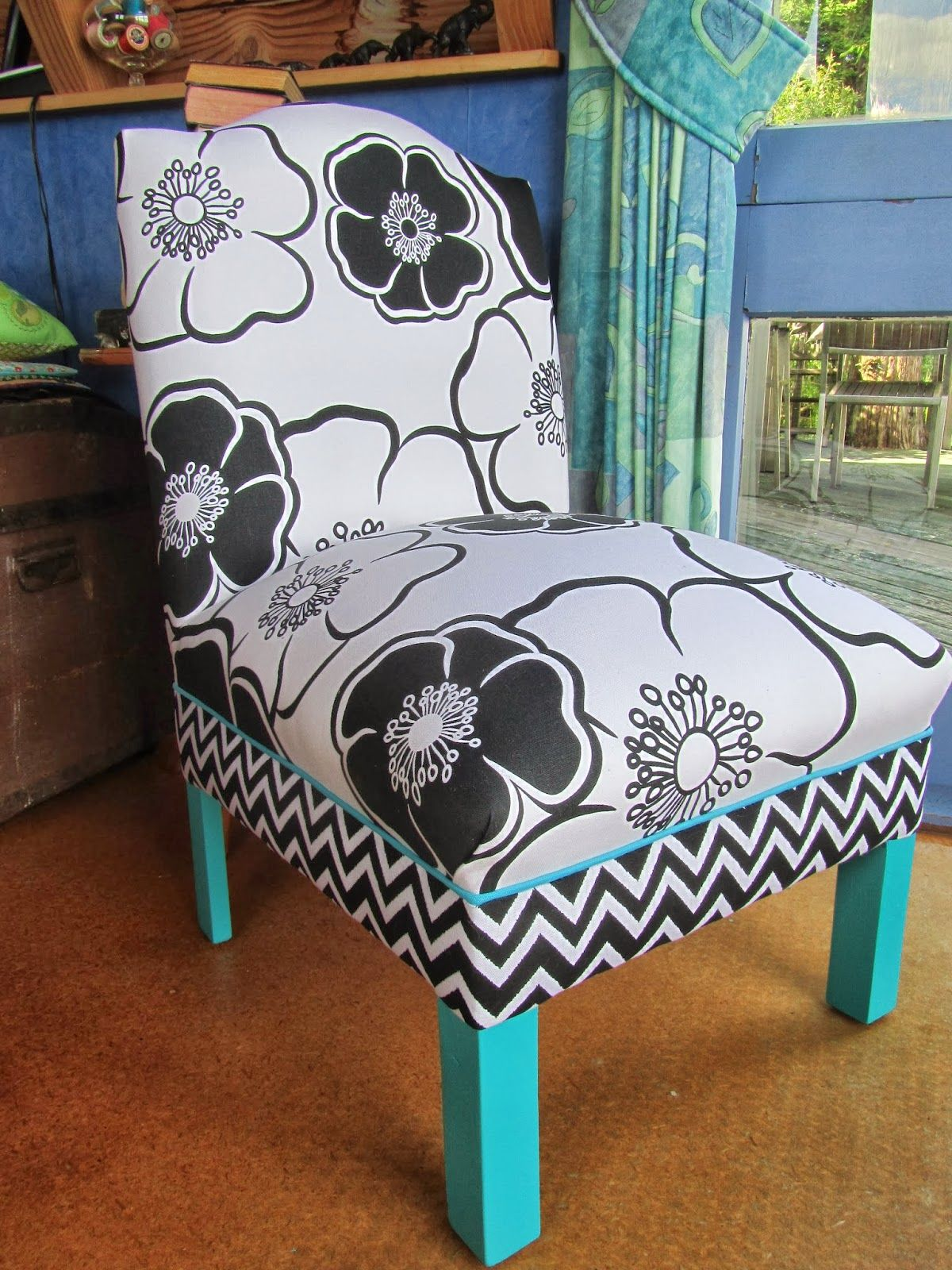 Black white and turquoise reupholstered bedroom chair