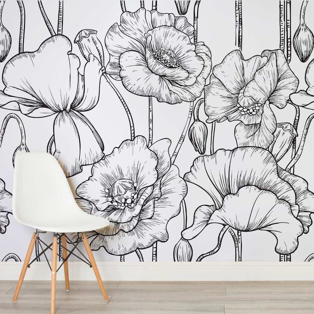 Black white illustrated flowers square wall murals home - Flower wallpaper mural ...
