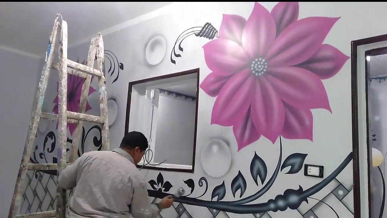 طريقة رسم ديكور وردة روز على ارضية رصاصى سهلة جدا Home Decor Wall Design Home Decor Decals