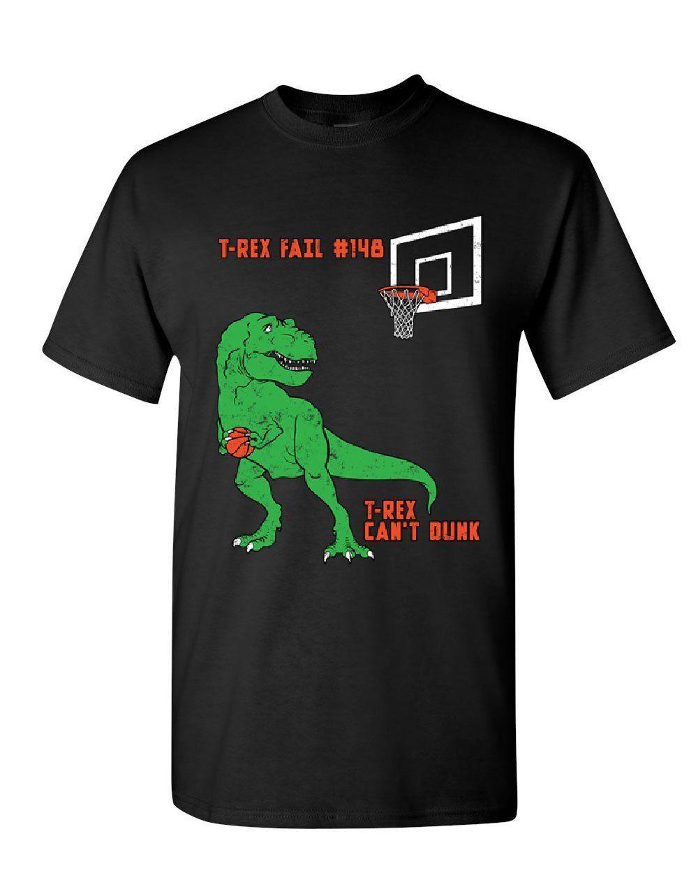 T-Rex Can/'t Dunk Funny T-Shirt Basketball Tyrannosaurus Fail Tee