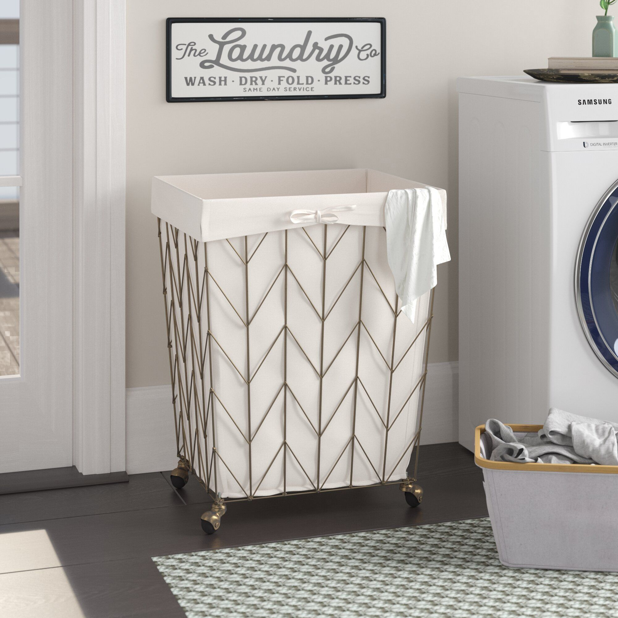 Coastal Decorative Rolling Laundry Hamper Laundry Hamper