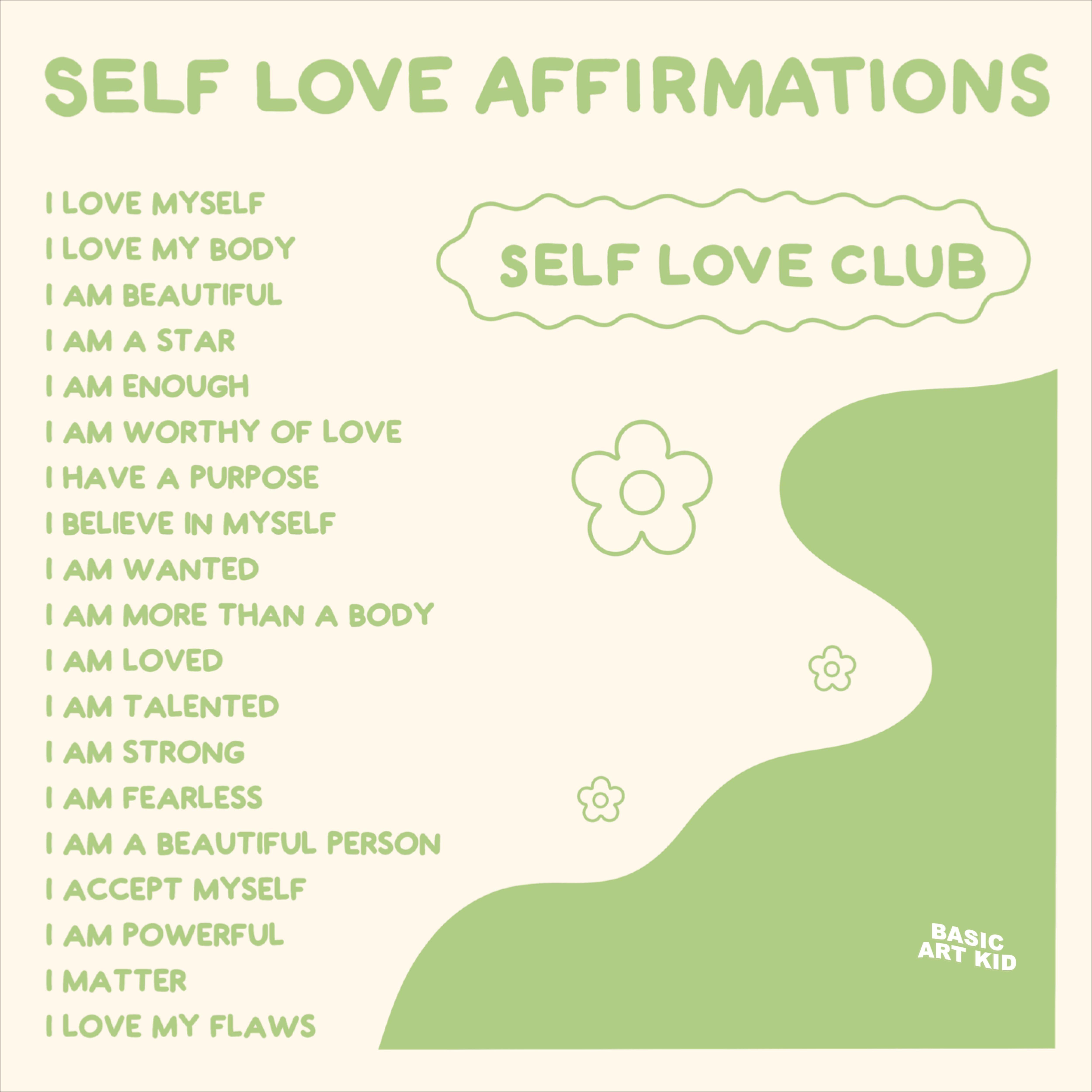 Green aesthetic self love art print! Self love affirmations!