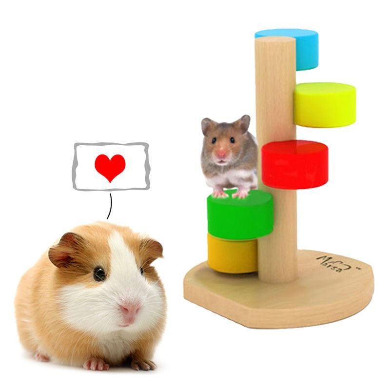 Colourful Wooden Hamster Play Toy Funny Climbing Ladder for Pets Small Animals Dwarf Hamster Gerbil Rat Chinchillas Guinea Pig Squirrel