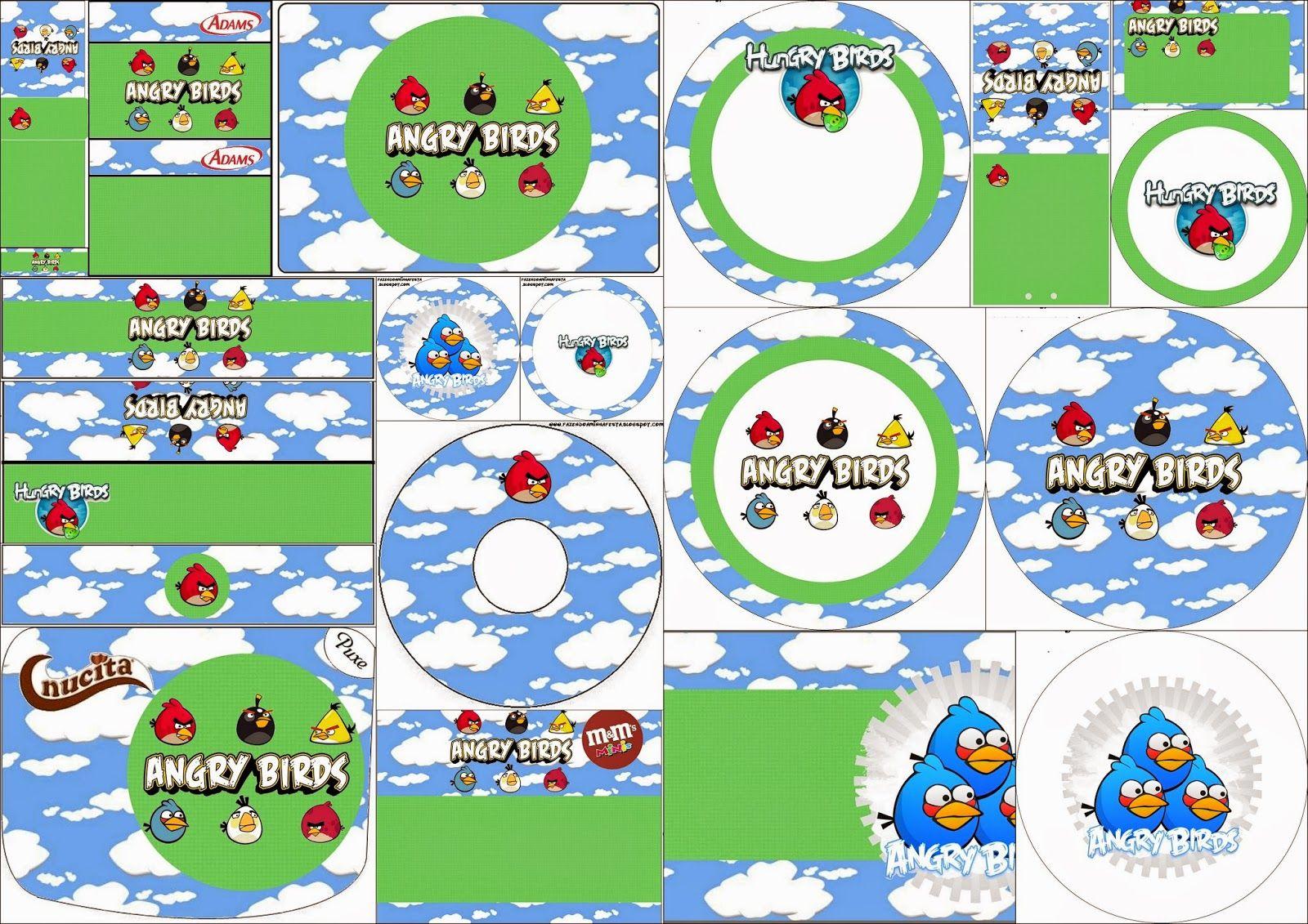 Angry Birds con Nubes: Etiquetas Candy Bar para Imprimir Gratis ...
