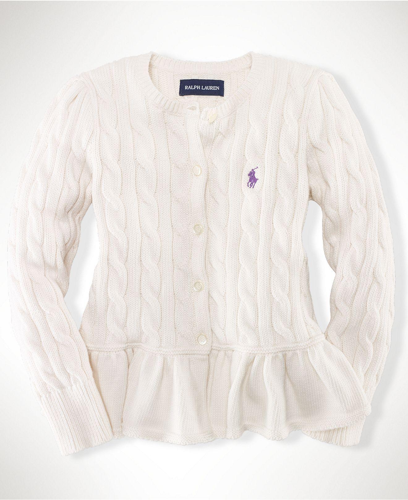 Love this sweater. Ralph Lauren Kids Sweater, Little Girls Peplum Cardigan  - Kids Girls