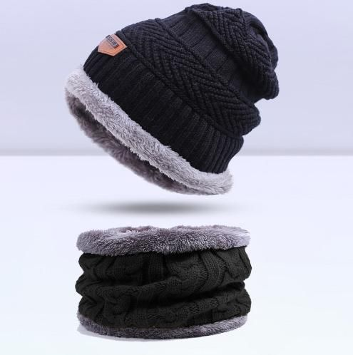 c15cef91d1200 SIMPLESHOW Winter Knitting Hat Scarf Set Men Solid Color Warm Cap Scarves  Male Winter Outdoor Accessories