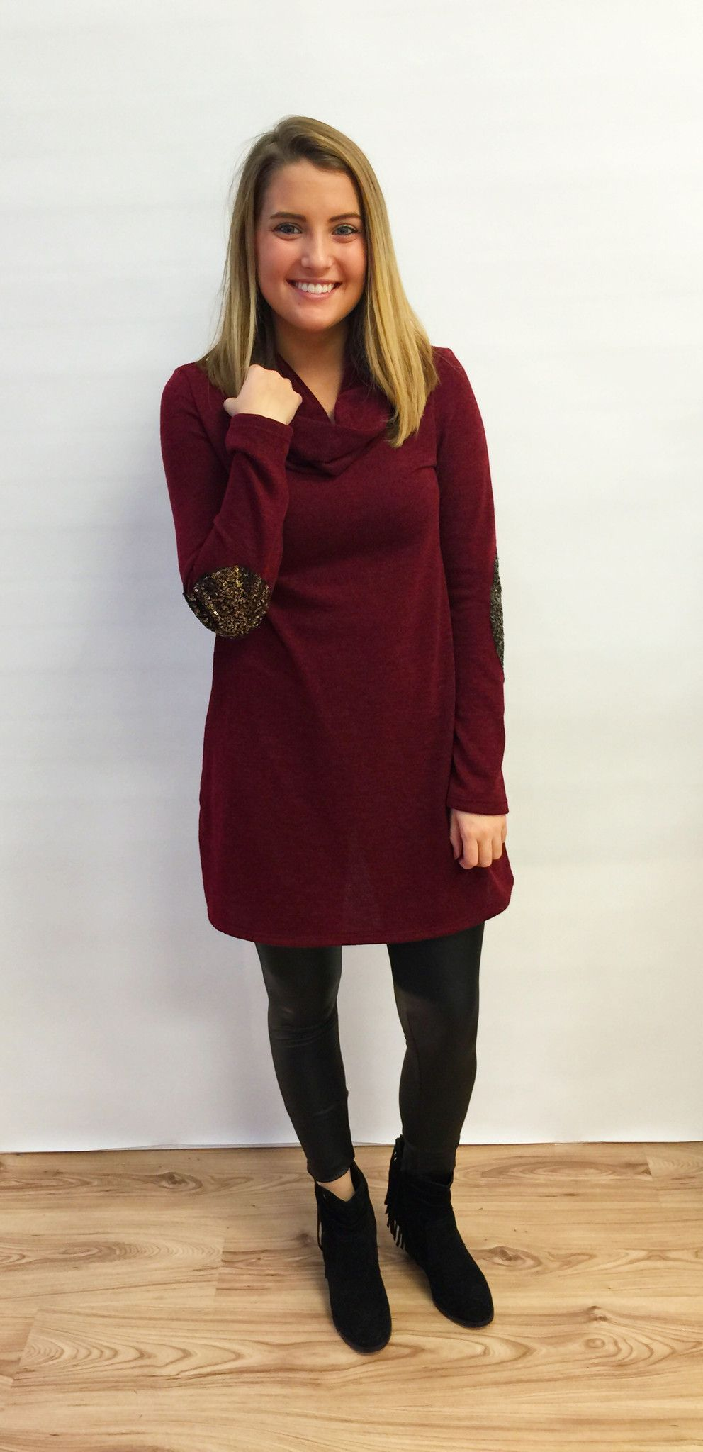 Burgundy Cowl Neck Sweater Tunic with Sequin Elbow Patches - The ...
