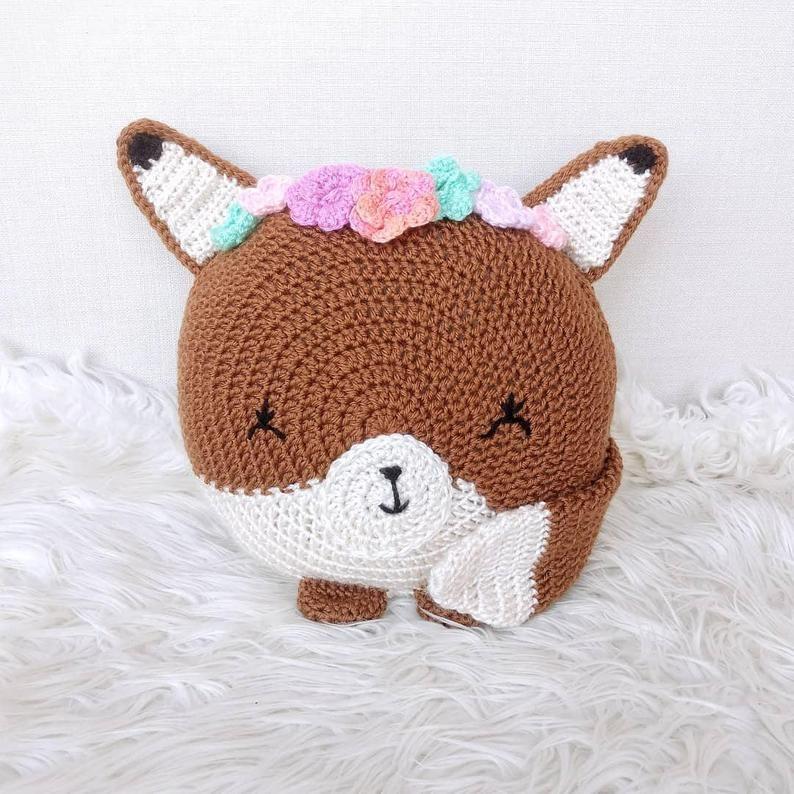 Crochet Fox Pattern - animal pillows - Pillow Patterns - Fox Pillow - crochet pillow pattern - woodland animals - Animal decor - Baby Gifts