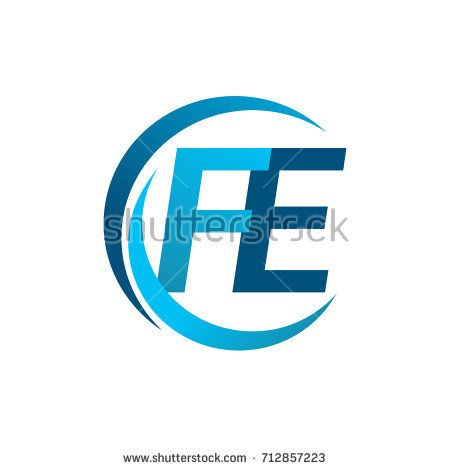 Initial Letter Fe Logotype Company Name Blue Circle And Swoosh