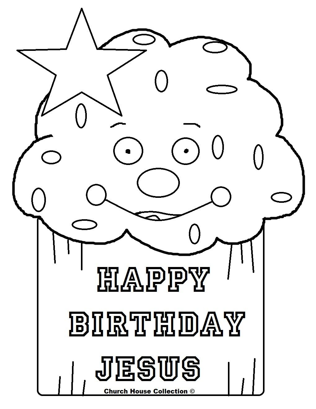 Happy Birthday Jesus Cupcake Coloring Page | Mewarnai | HAPPY ...