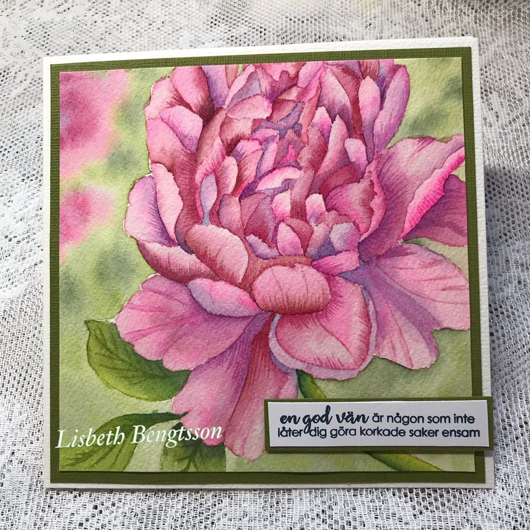 Big flower stamps I just love Then its fun with fun text stamps too the flower is colored with watercolor colors the sentiment says A good friend is someone who will not...