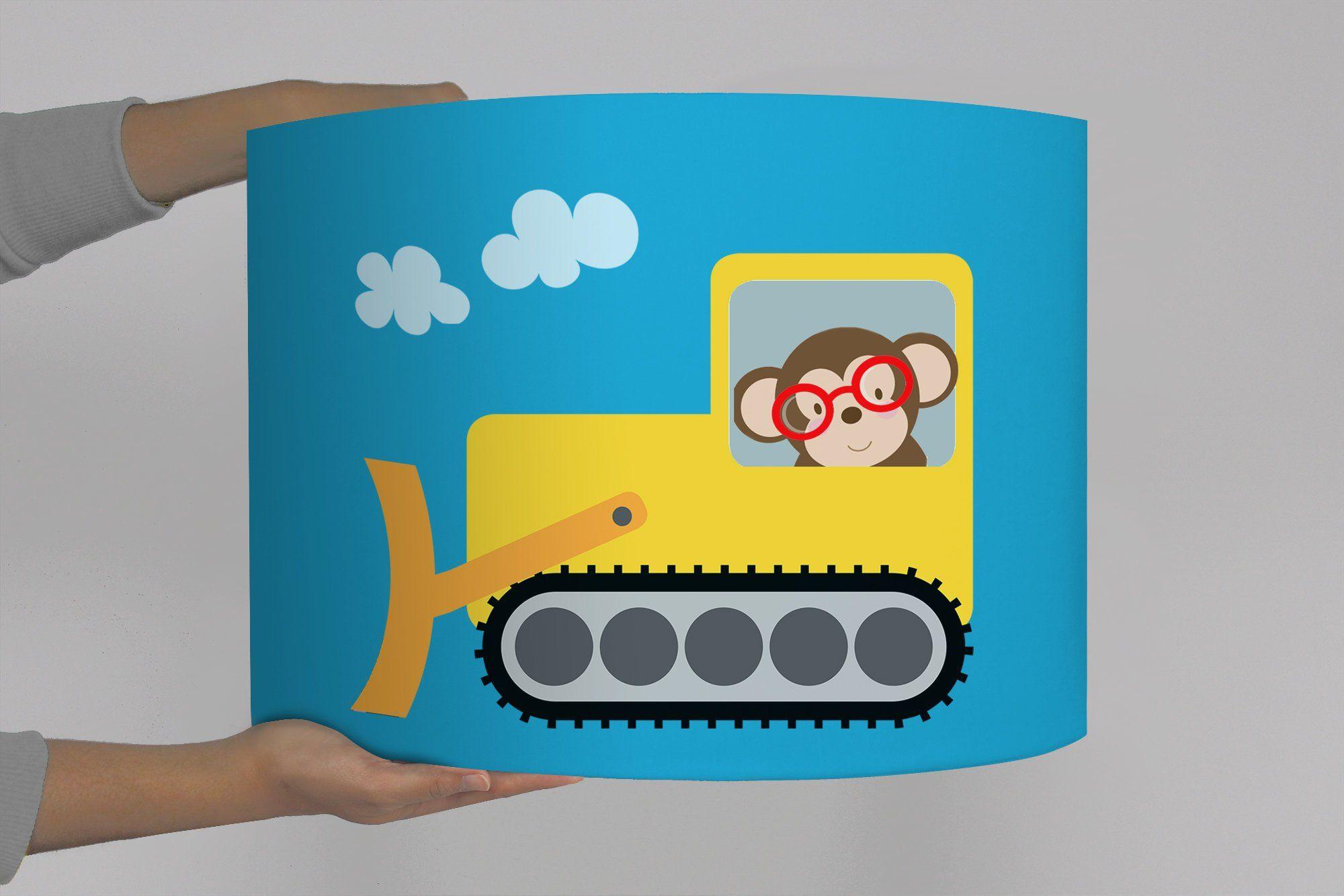 Lampenschirm Baustelle Fahrzeuge Bagger Traktor Lastwagen Affe Tiere Fuchs Flamingo Kinderlampe Turkis Kinder Lampen Kinderlampe Lampenschirm Kinderzimmer