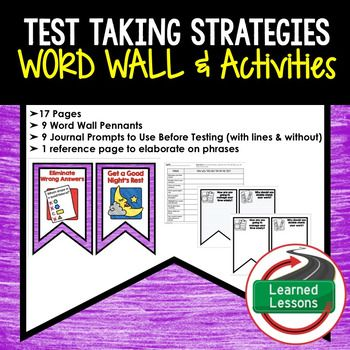 Test Taking Strategies Word Wall and Activity Page Templates - reference page template