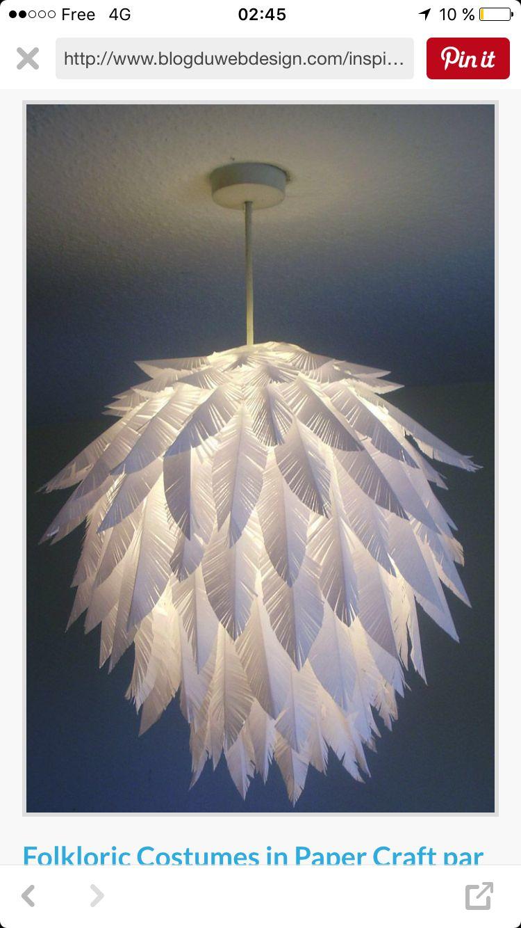 Lustre En Papier Feather Lamp Paper Crafts Diy Diy Paper