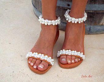 Bridal Sandals White Beach Wedding Shining Bride Pearl