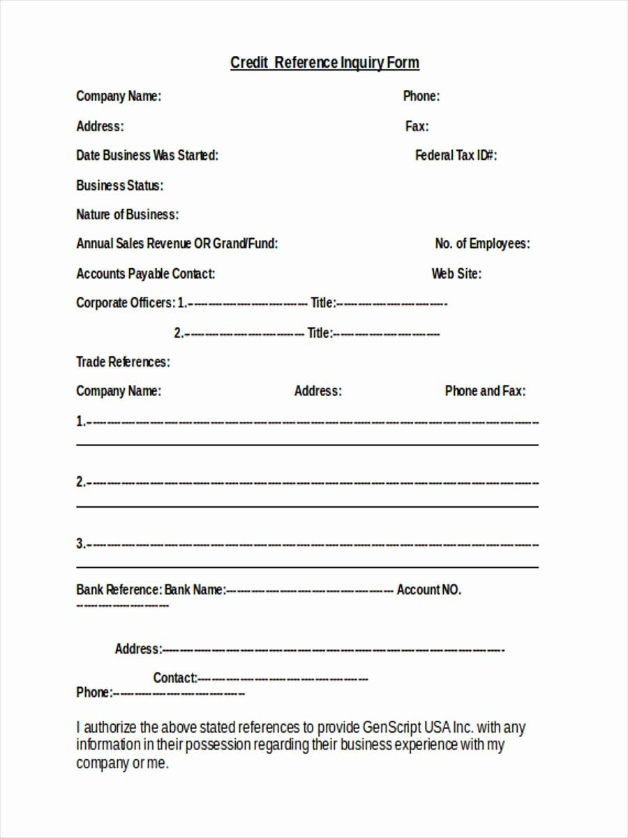 Business Credit Reference Form Best Of 10 Credit Inquiry Form Samples Free Sample Newsletter Template Free Preschool Newsletter Templates Newsletter Templates