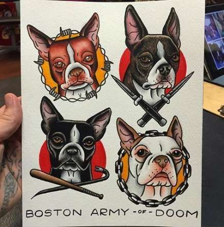 Trendy Tattoo Old School Hund Boston Terrier Ideen