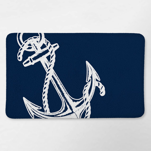 Nautical Bath Rug Nautical Bathroom Navy Blue Anchor By Loftipop - Navy bath rug for bathroom decorating ideas