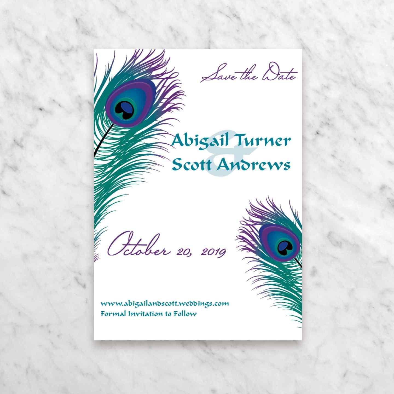 Flat rectangle wedding invitations peacock pizzazz
