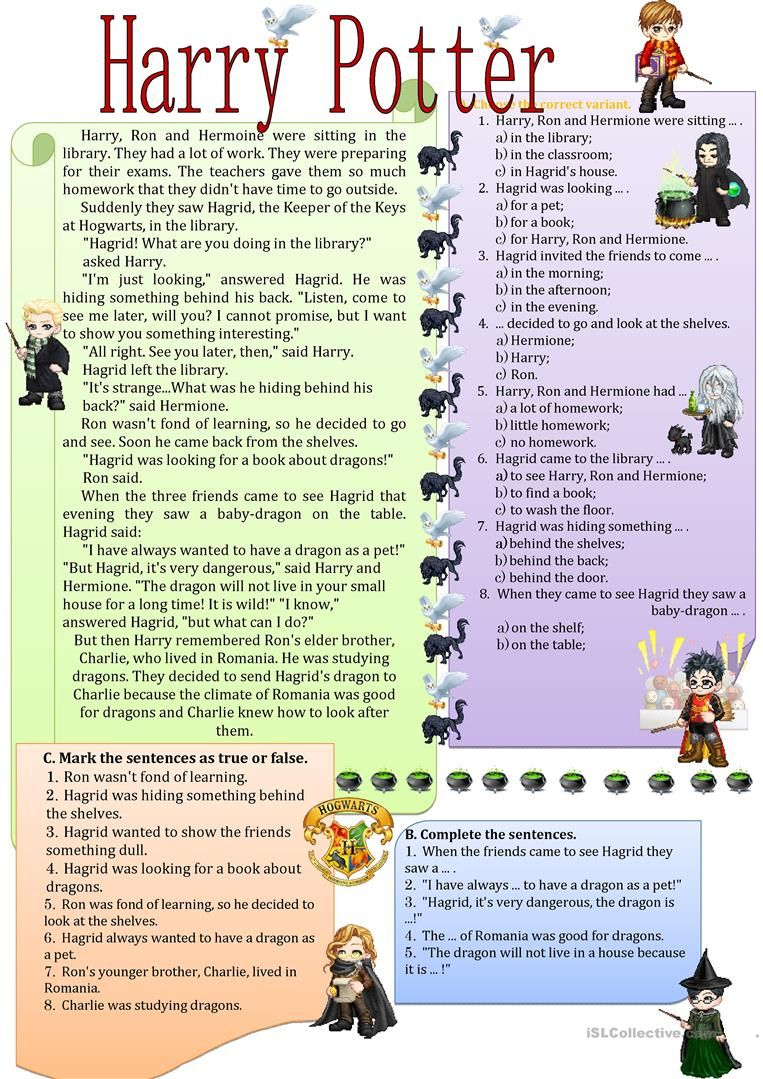 Harry Potter In The Library Worksheet Free Esl Printable Worksheets Made By Teachers English Lessons English Reading Reading Comprehension Harry potter reading comprehension