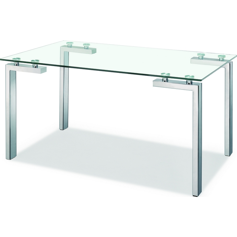 Roca Dining Table Stainless Steel Legs U0026 Clear Tempered Glass Top. Can Also  Be Used
