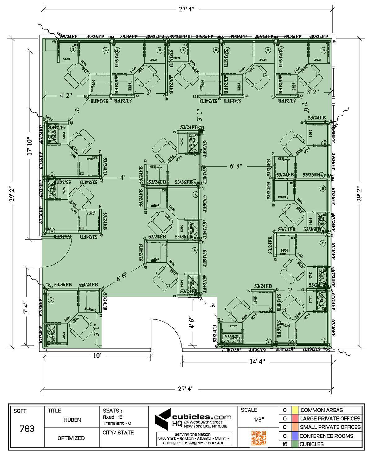 Office Floor Plan With 16 Workstations Cubiclelayout Office Floor Plan Office Space Planning Office Space Design