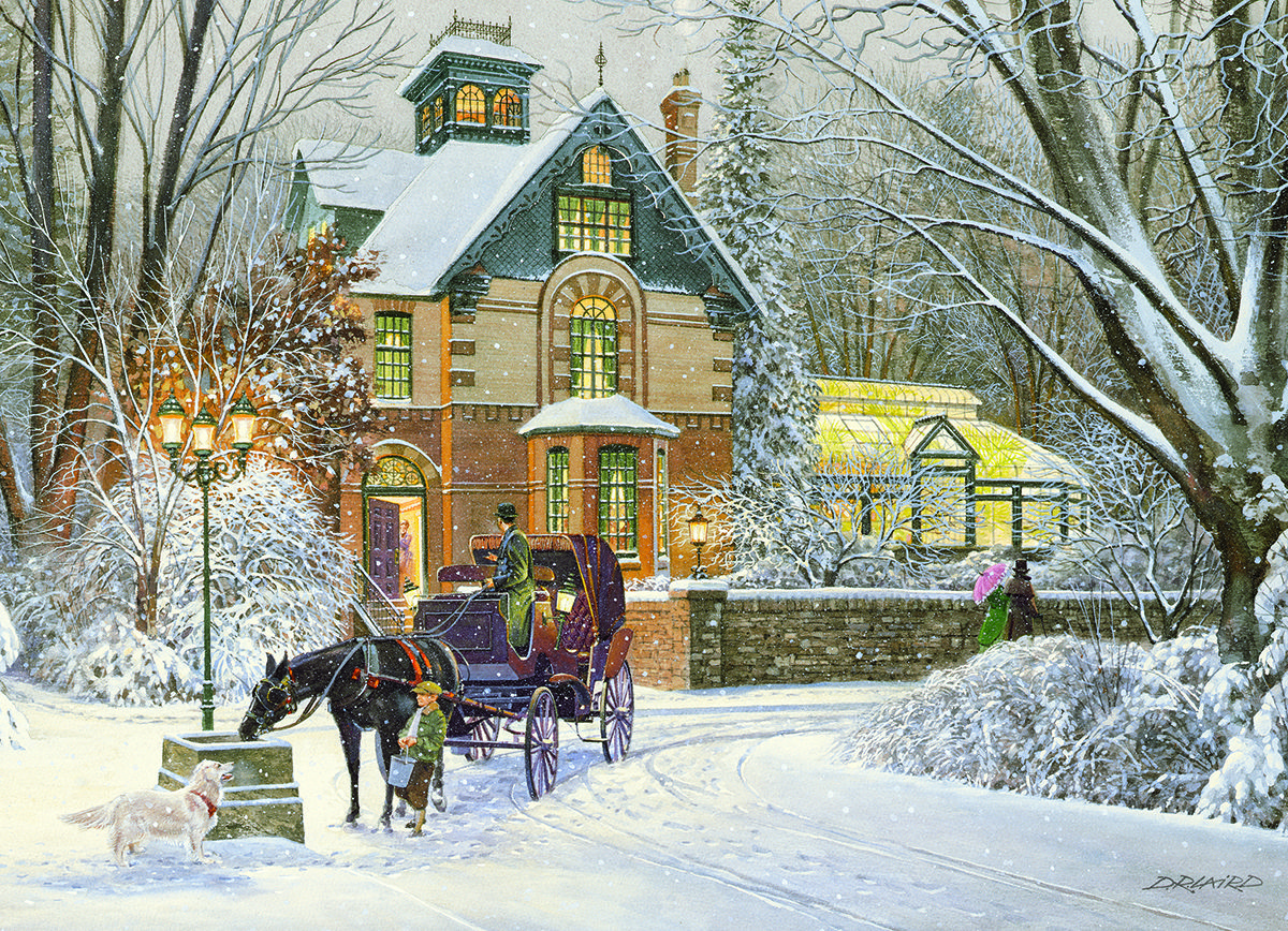 EuroGraphics Evening Stroll 1000-Piece Puzzle. Evening Stroll exemplifies the warmth of our Winter Wonderland Collection. This beautiful winter scene provides a fun way to celebrate the winter days with family!