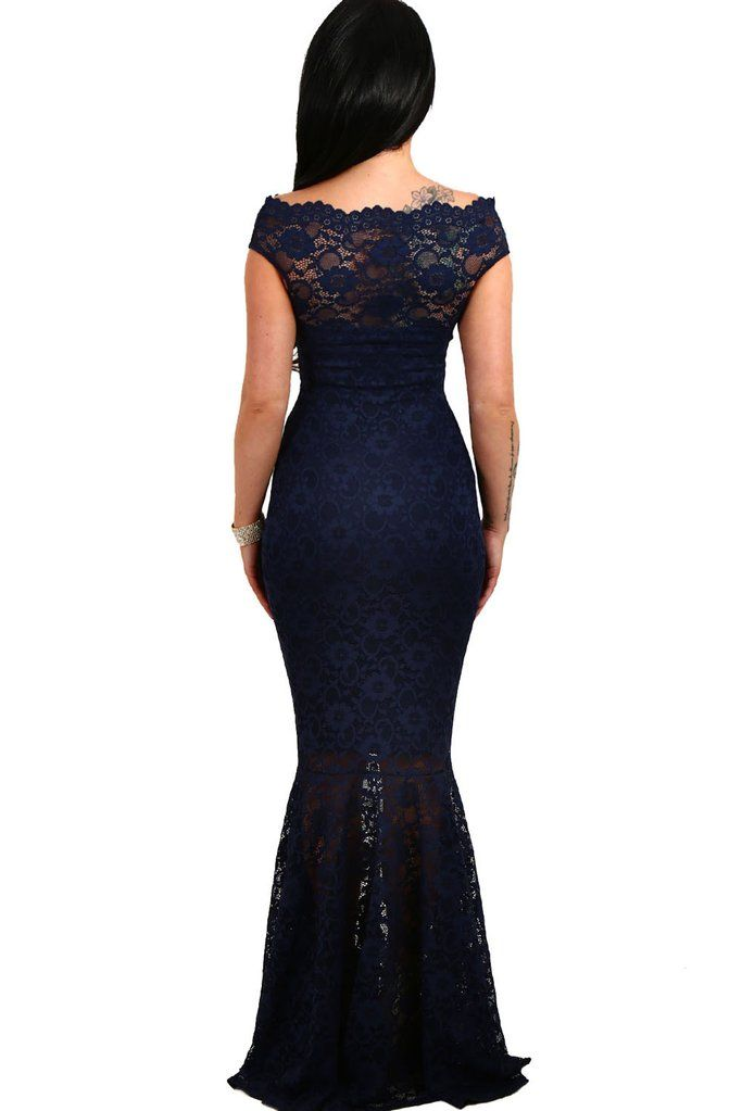 ad6045a4c8a53 Off The Shoulder Mermaid Navy Blue Lace Formal Dress in 2019 ...