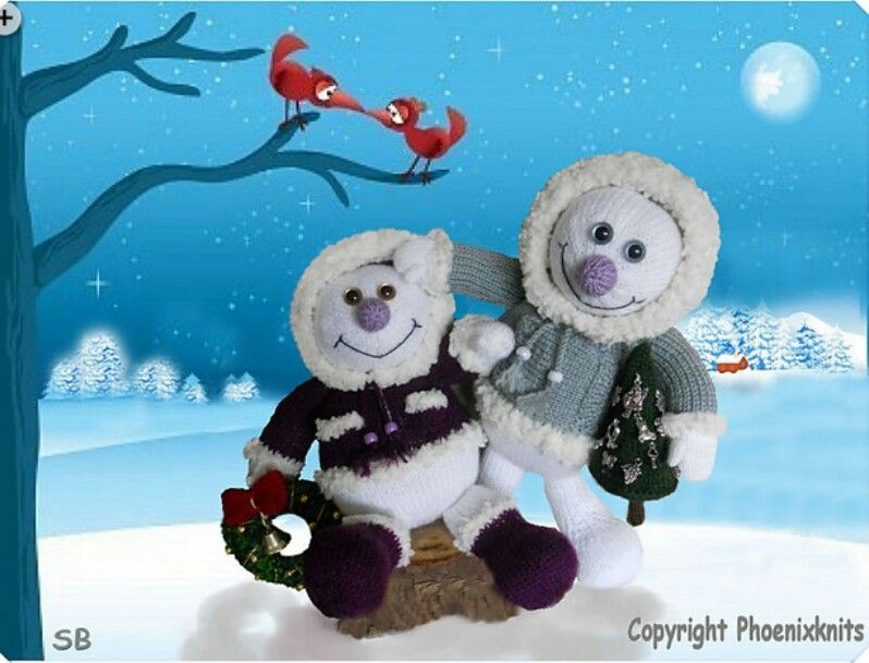 Zwei lustige Schneemänner♡