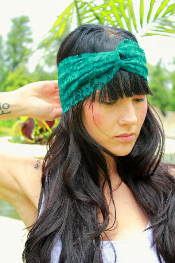 Emerald Blue Green Lace Turban Headband with Velcro by JustLiv ... f07c15fac71