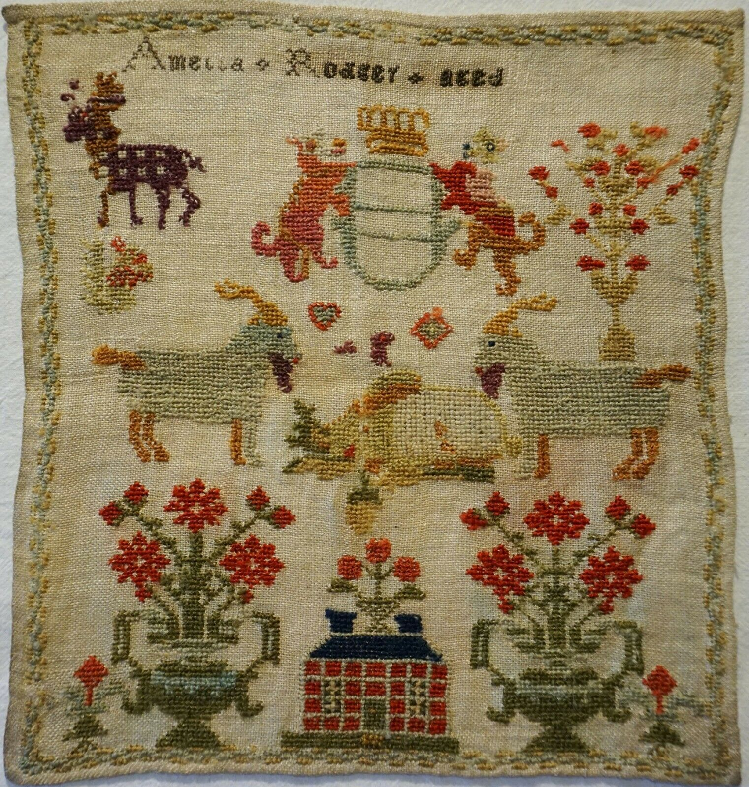 Small Early 19th Century Red House Goats Sampler By Amelia Rodgers C 1830 404 49 Antique Quilts 19th Century Blue Roof