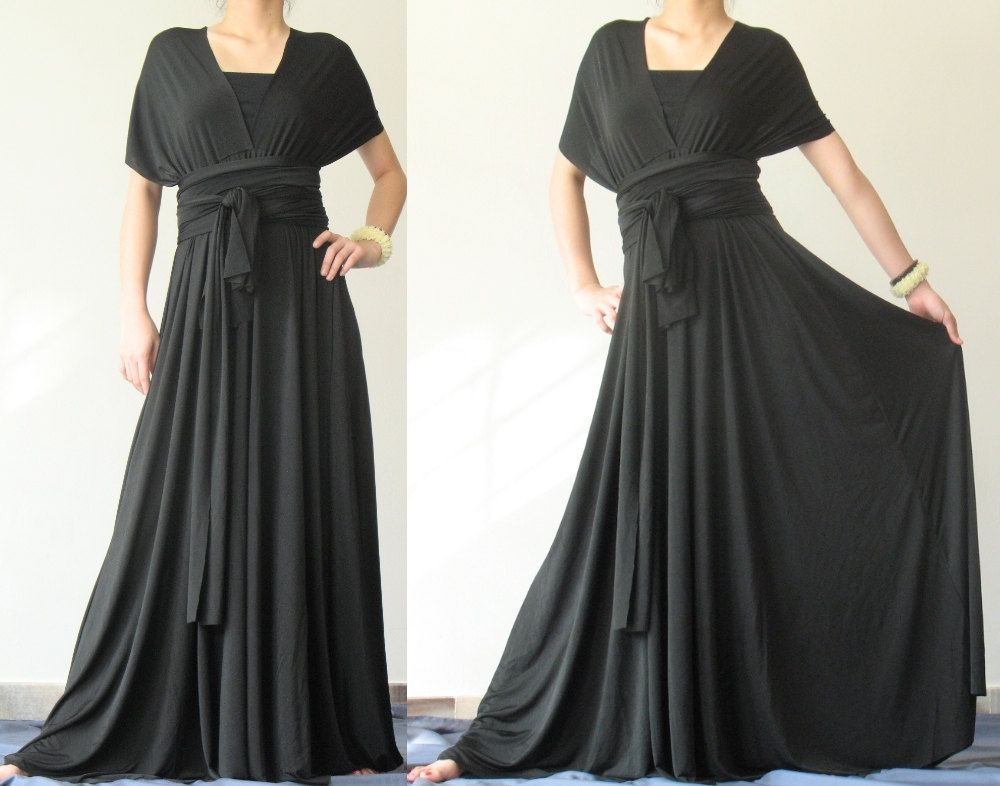Convertible Wrap Dress Black Infinity Dress Long Maxi Dress ...
