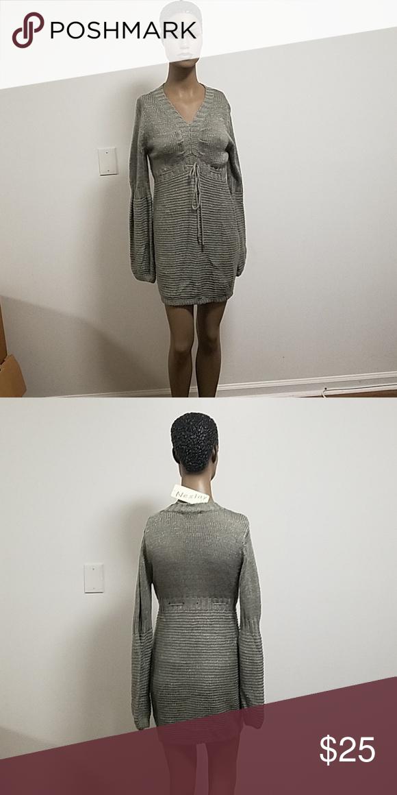 89dd1cbbb00 Gray sweater dress Mid-length gray long sleeve sweater dress Dresses Midi