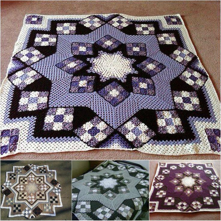 Great Blue Star Crochet Afghan Free Pattern   Pinterest   Cobija ...