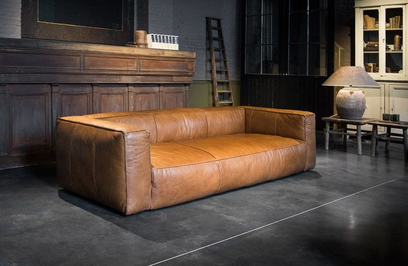 Leather Three Seater Sofa Cognac Colour Woontheater Furniture Leather Sofa Vintage Leather Sofa