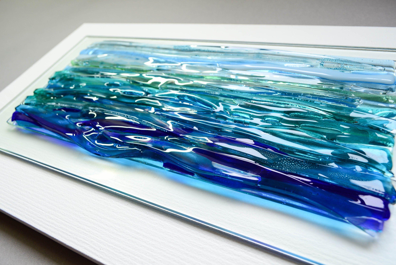 Large Ocean Art Fused Glass Art Ocean Decor Modern Wall Art Etsy
