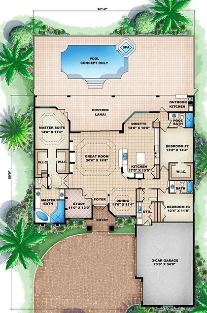 House Plan Square Feet Pool House Plans Florida House Plans House Layouts