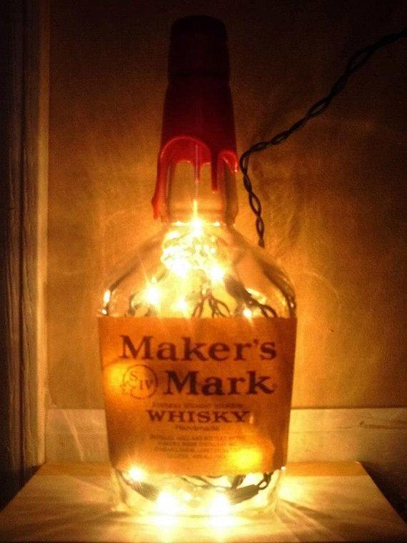 Lighted Maker S Mark Bottle Decorative Lamp Dorm Room Etsy In 2020 Makers Mark Bottle Liquor Bottle Lights Makers Mark