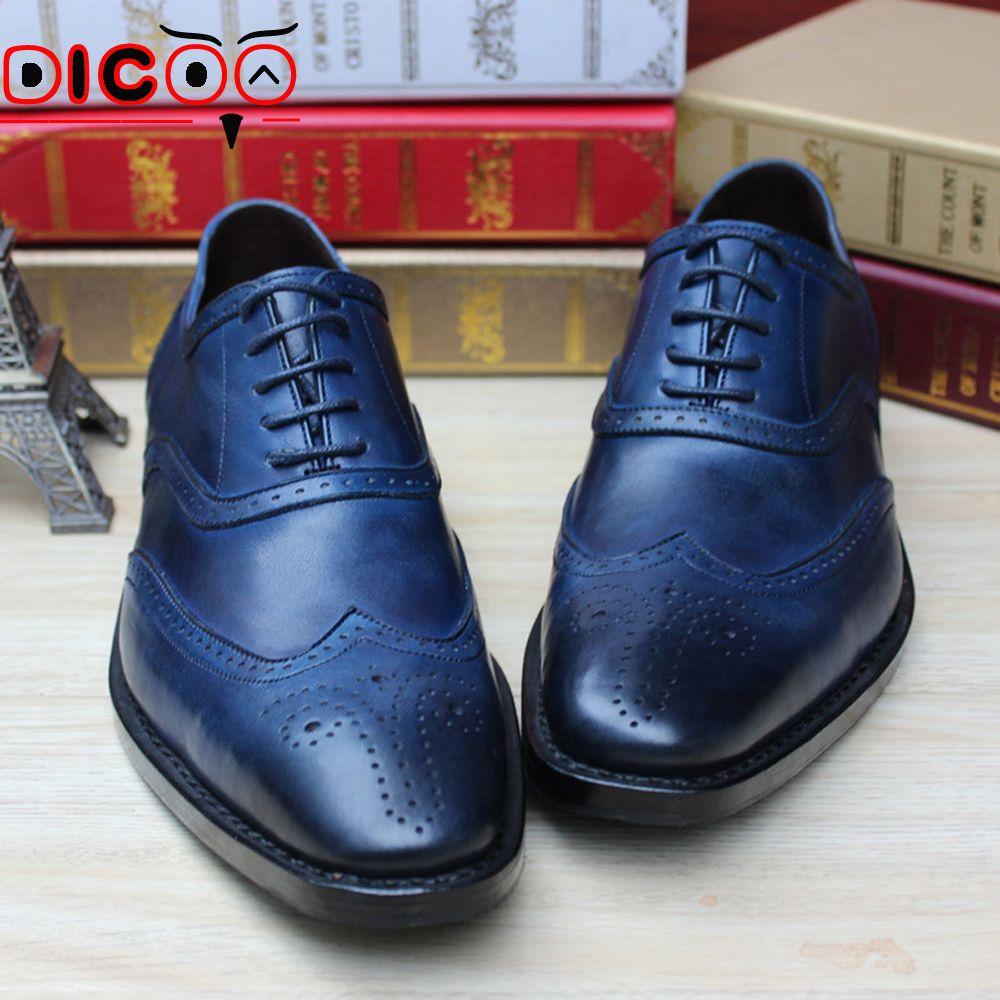 Blue dress shoes mens black